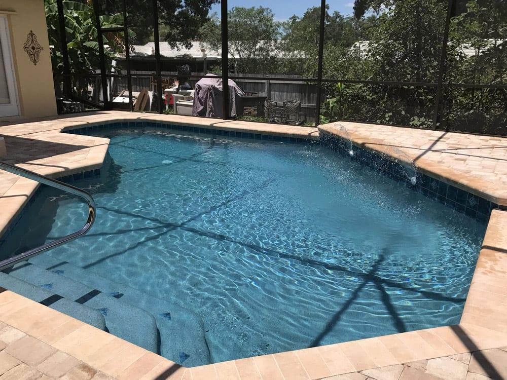 stone surrounding pool