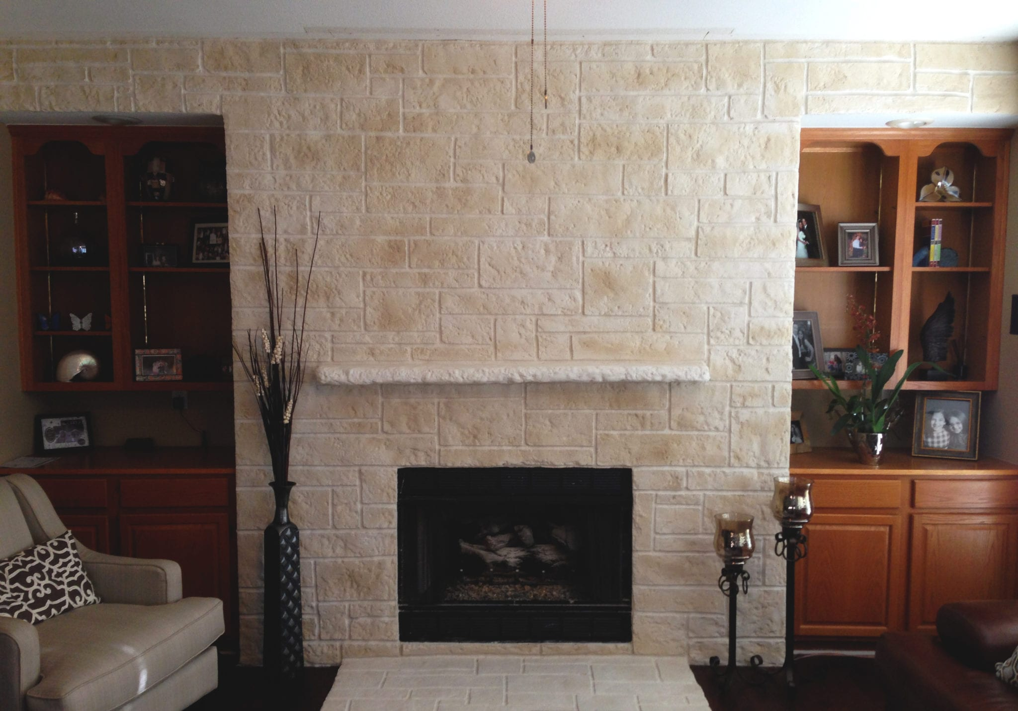 wide white limestone fireplace