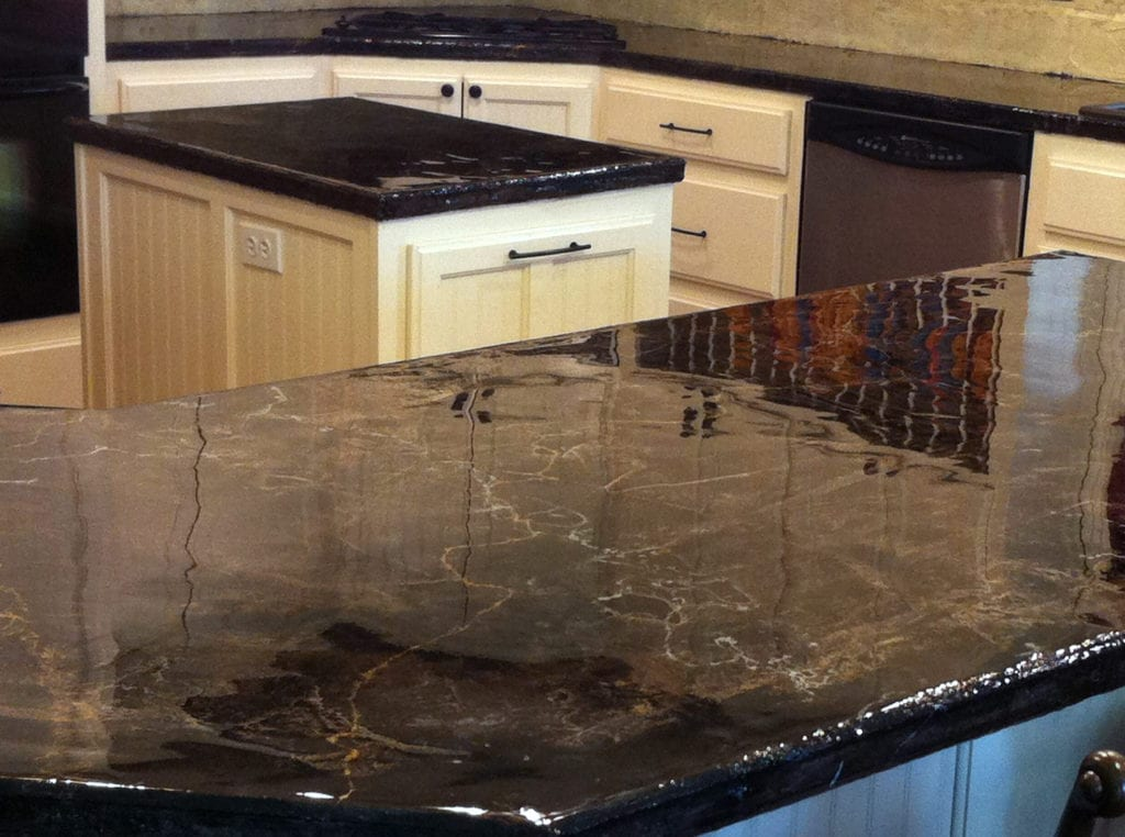 black counter top monroe remodel