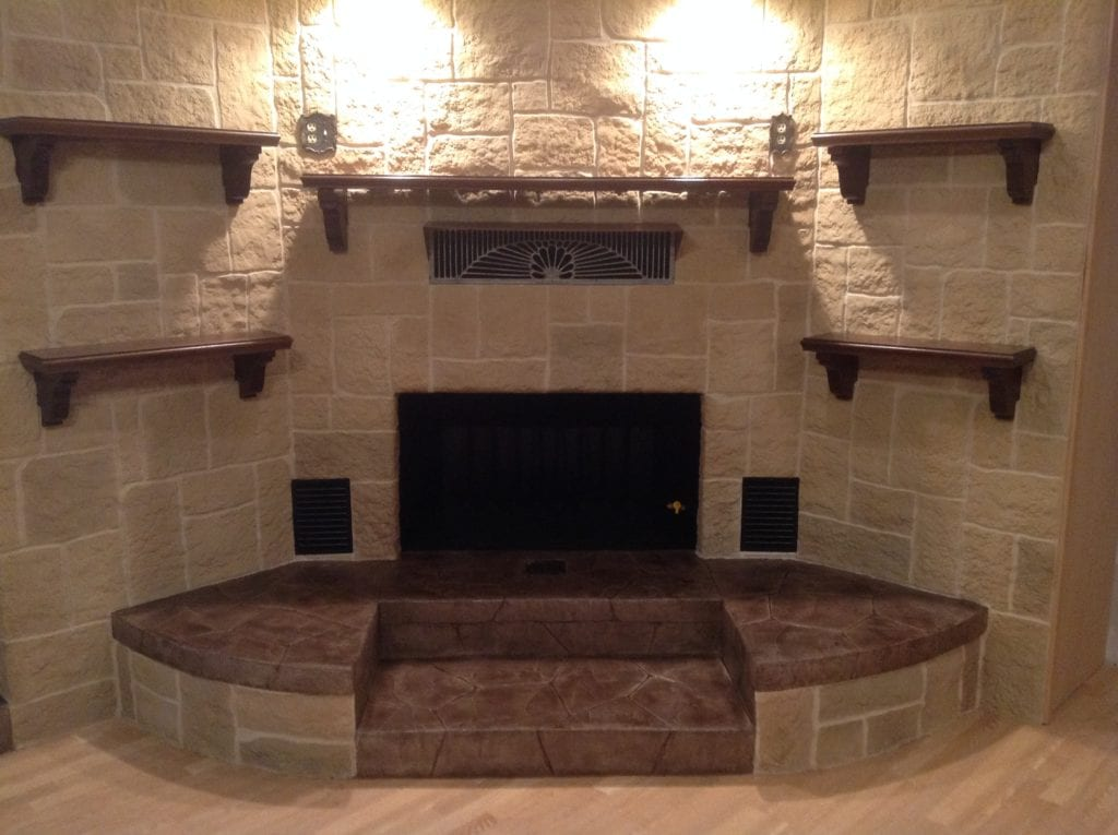 remodeled limestone fireplace
