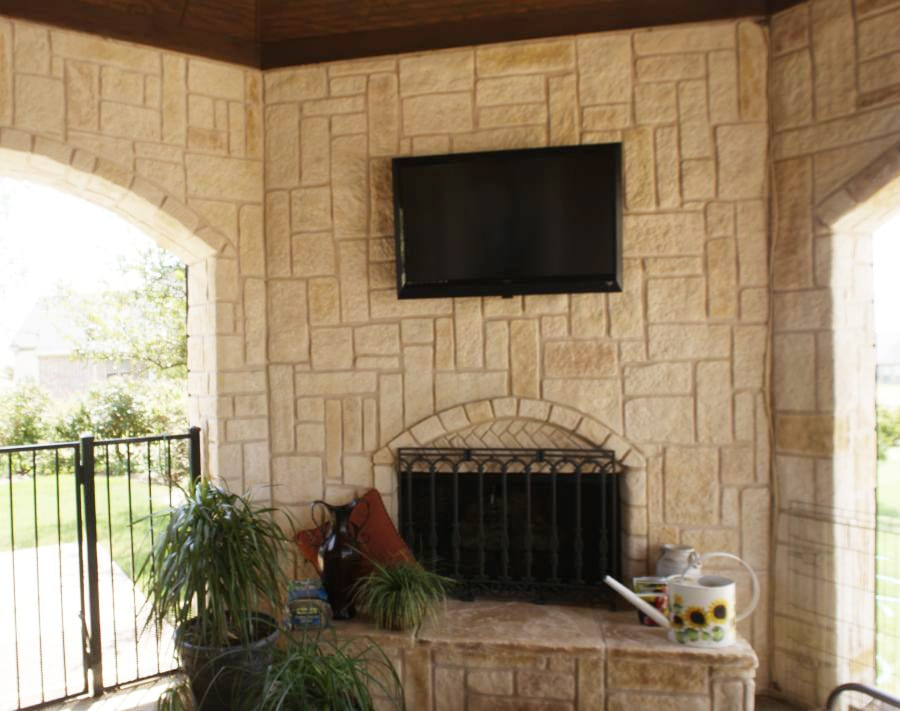 white limestone fireplace