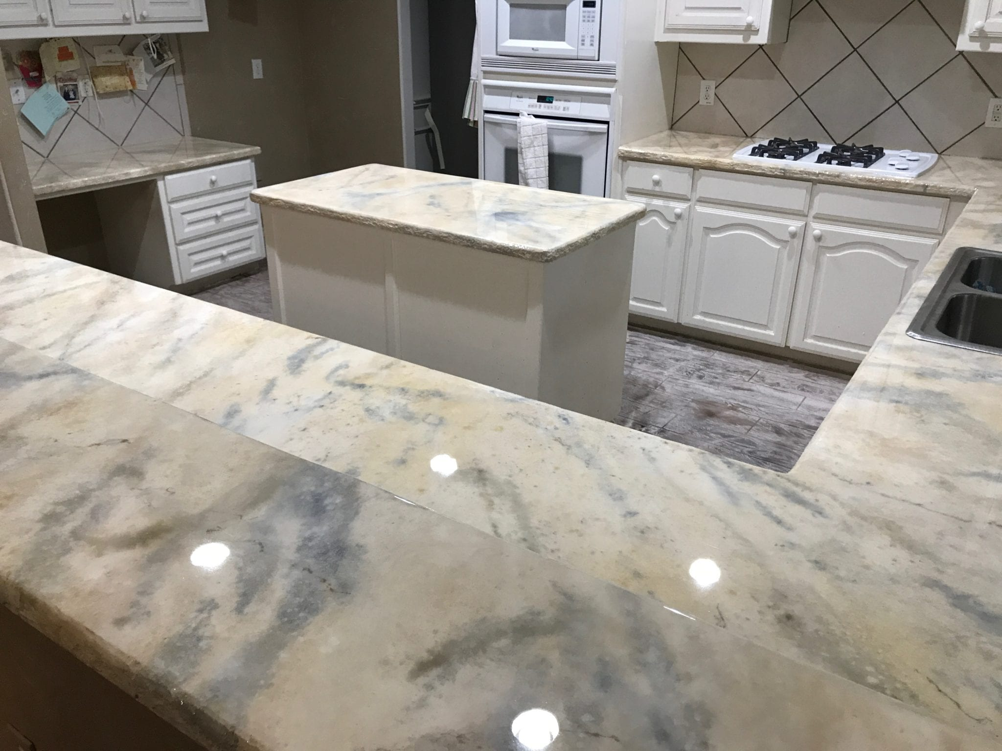 white marble remodeled counter tops