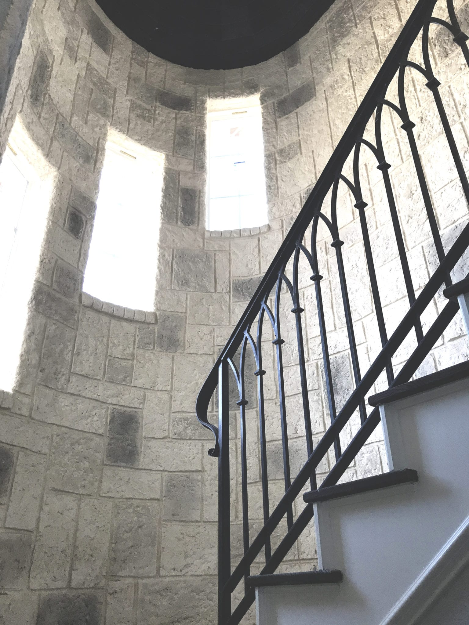 grey stone staircase remodel
