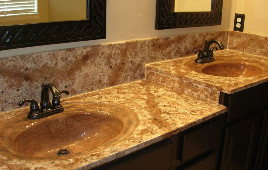 yellow brown vanity remodel