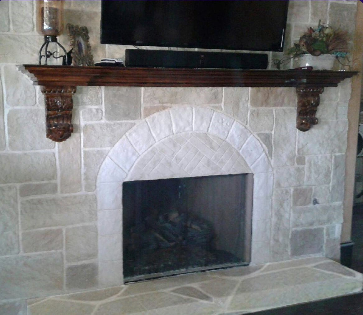 big fireplace flagstone heart no border