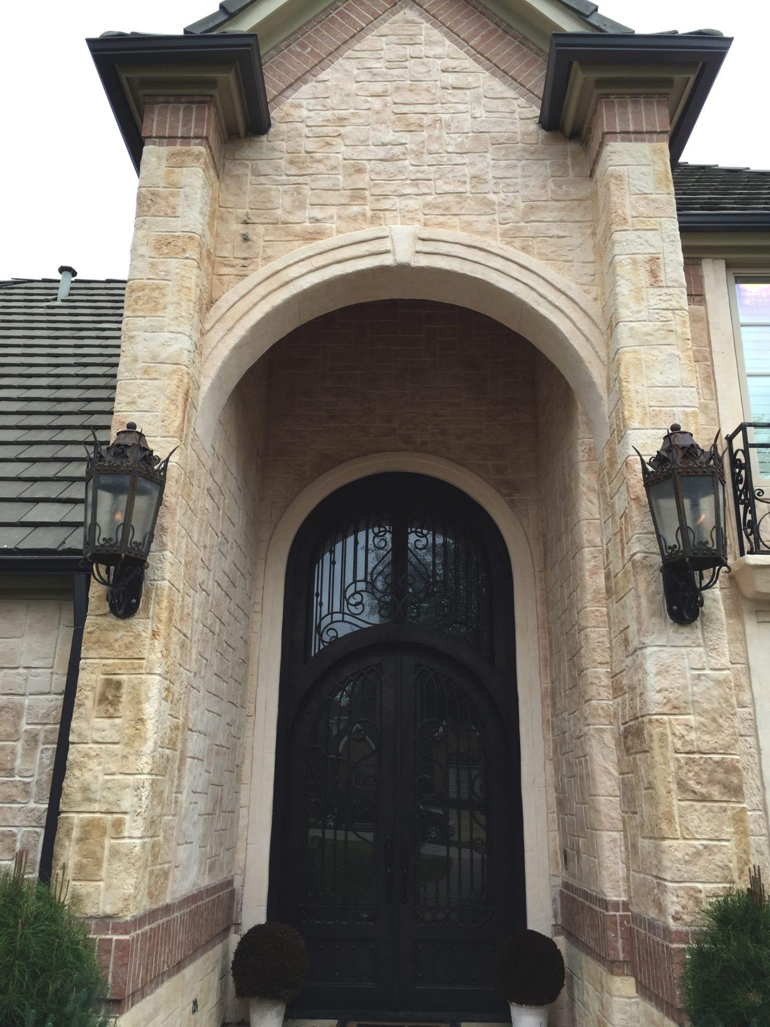 dramatic stone entryway