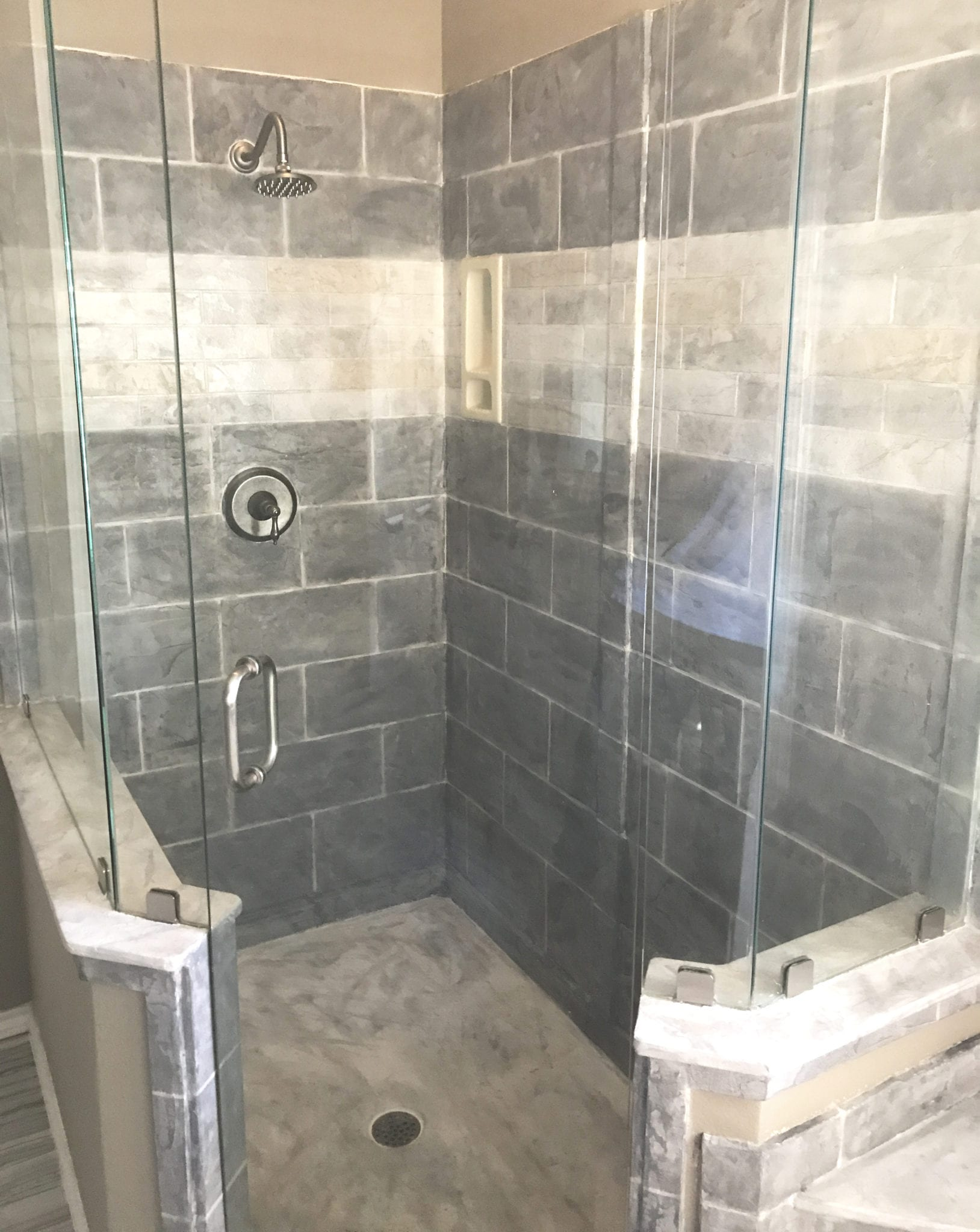 grey shower remodel