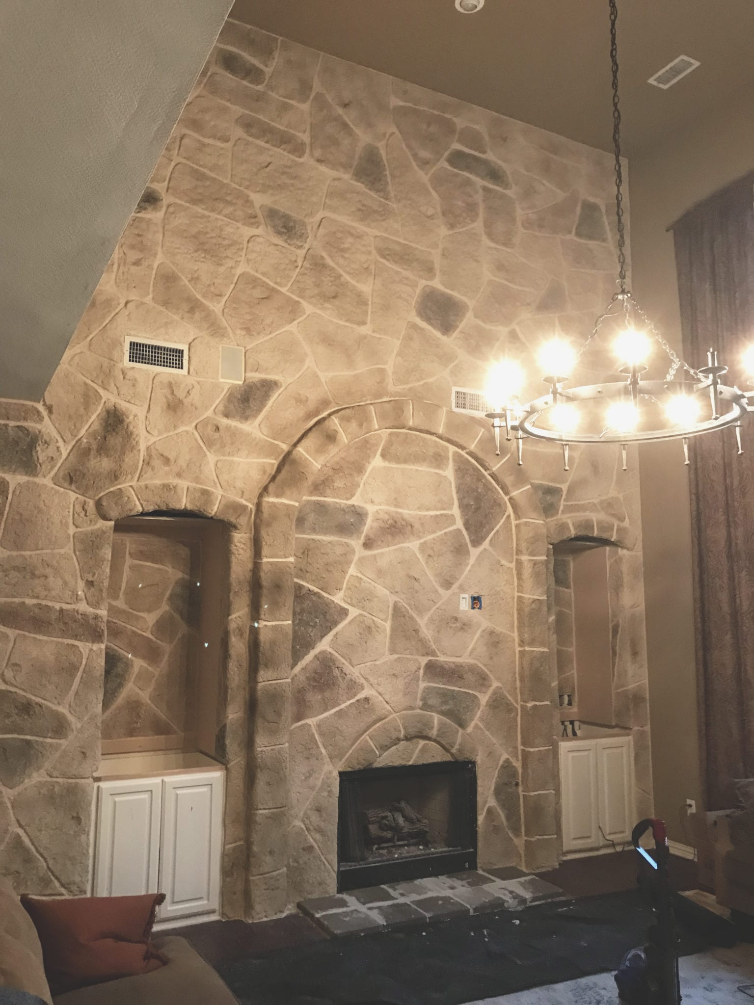 tall fireplace resurfaced