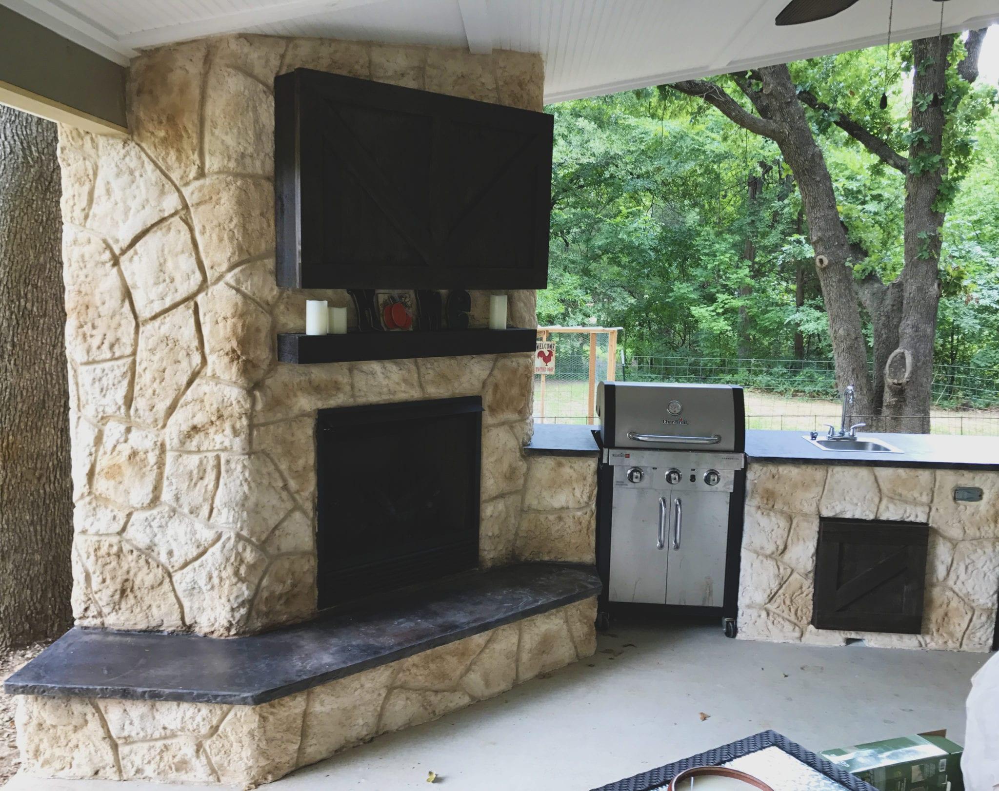 outdoor fireplace resurfaced