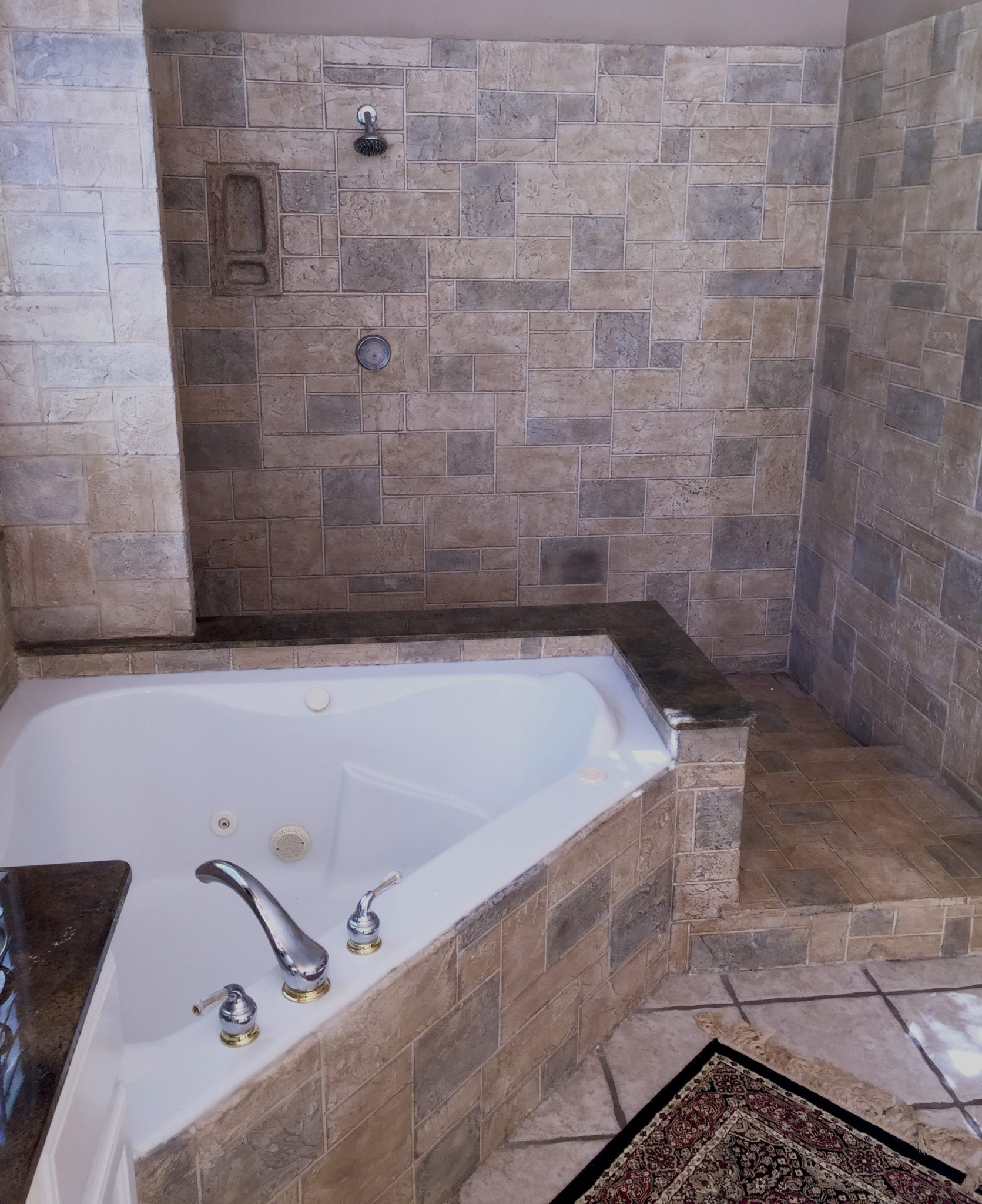 tub shower combo remodel stone